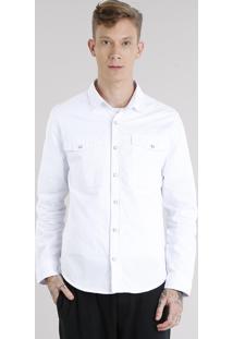 Camisa Masculina Com Bolsos Manga Longa Branca