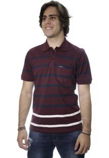 ... Camiseta Laos Gola Polo Manga Curta Listrada Vinho 7c99f77fcee01