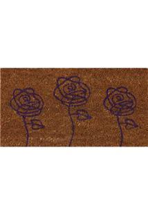 Capacho Retangular Vizapi Un Natural Flores Com Fibra Natural 33 X 60 Cm - Colorido