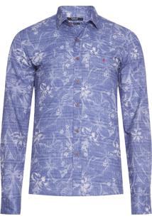 Camisa Masculina Floral Denim - Azul