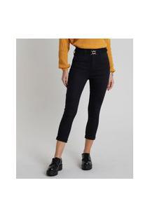 Calça De Sarja Feminina Sawary Skinny Cropped Cintura Super Alta Preta