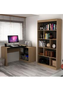 Escrivaninha E Estante Com 6 Prateleiras Para Escritório-Ho-2961-Hecol - Avela / Onix