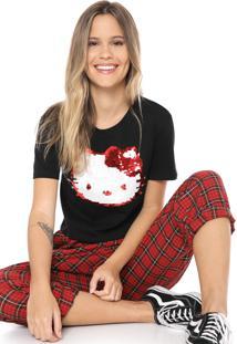 Blusa Cropped Cativa Hello Kitty Paetê Com Vira Preta