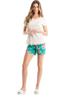 Pijama Luiza C/ Shortao Verde/P
