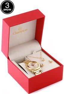 Kit 3 Pçs Relógio Champion Cn27162A Dourado