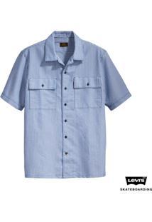 Camisa Levis Skateboarding Button Down Listada - Masculino-Azul