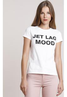 "Blusa Feminina ""Jet Lag Mood"" Manga Curta Decote Redondo Off White"