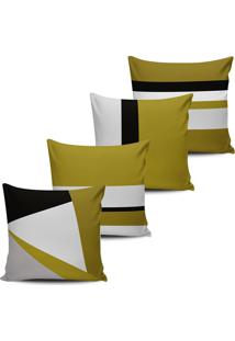 Kit 4 Capas Almofadas Geometrica Amarelo Mostarda 45X45Cm - Multicolorido - Dafiti