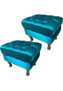 Kit Com 02 Poltronas Puff Bancos Retrô Luís Xv Capitonê Azul Tiffany