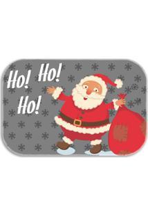Tapete Decorativo Lar Doce Lar Papai-Noel Natal 40Cm X 60Cm Cinza