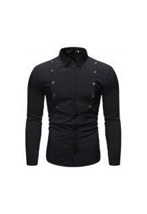 Camisa Social Masculina Slim - Preta