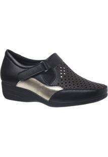 Sapato Conforto Doctor Shoes Anabela Couro Soft Metalizado Glacê Feminino - Feminino-Preto