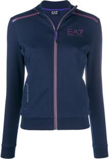 Ea7 Emporio Armani Jaqueta Com Estampa De Logo - Azul