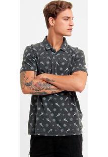 Camisa Polo Redley Estonada Mini Print - Masculino-Preto