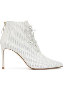 Francesco Russo 100Mm Lace-Up Ankle Boots - Branco