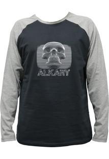 Camiseta Alkary Raglan Manga Longa Caveira 3D Chumbo E Mescla