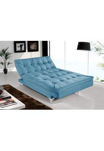 Sofá Cama Casal Versátil Azul Turquesa