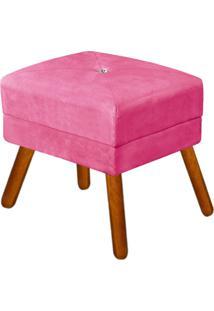Puff Decorativo Bella Suede Rosa Barbie Com Strass E Pés Palito - D'Rossi