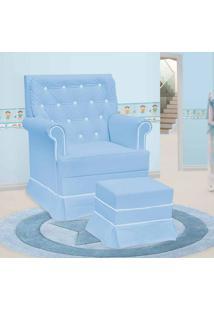 Poltrona Amamentação Giulia Com Balanço E Puff Azul E Branco