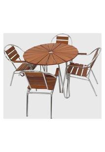 Conjunto De Mesa Em Alumínio E Madeira C/ 04 Cadeiras Furo Central P/ Ombrelone Alumínio Pressa Móveis