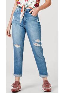 Calça Feminina Mom Em Jeans De Algodão Com Puídos