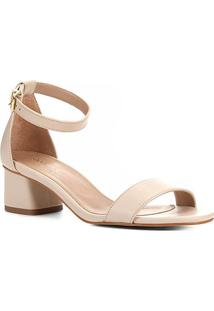 Sandália Shoestock Salto Médio Naked Feminina - Feminino-Macadamia