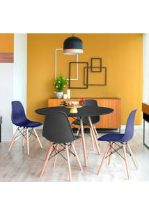 Conjunto De Mesa De Jantar Com 4 Cadeiras Eames Eiffel Preto E Azul Marinho