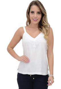 Blusa Mamorena Alcinha Decote Renda Branca - Branco - Feminino - Dafiti