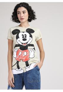 Blusa Feminina Mickey Manga Curta Decote Redondo Bege Claro
