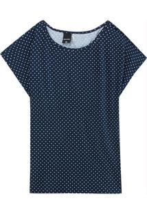 Blusa Azul Marinho Poá Em Viscose Conforto