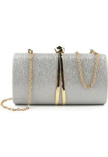 Bolsa Clutch Liage Metal Brilho Retangular Texturizada Alça Alcinha Prata E Dourada