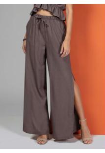 Calça Pantalona Marrom Com Fendas Laterais