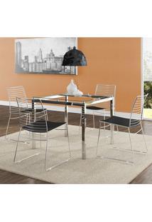 Mesa 326 Vidro Incolor Cromada Com 4 Cadeiras 1712 Preta Carraro