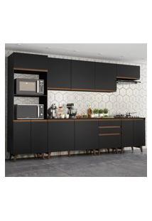 Cozinha Completa Madesa Reims 320002 Com Armário E Balcáo - Preto Preto