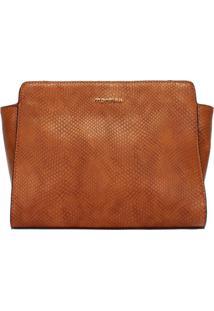 Bolsa Crossbody Com Textura Snake Mormaii - 44726 - Caramelo