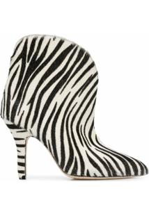 Paris Texas Ankle Boot Com Estampa De Zebra - Branco