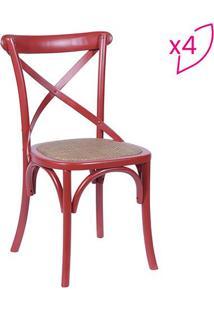 Jogo De Cadeiras Cross- Vermelho & Bege Escuro- 4Pã§Sor Design