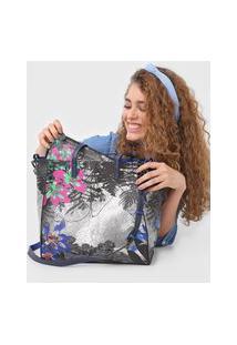 Bolsa Desigual Shopping Bag Garden Lacro Cinza/Azul