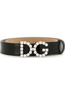 Dolce & Gabbana Cinto De Couro Com Aplicação Dg - Preto