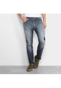 Calça Jeans Slim Ellus Destroyed Masculina - Masculino-Jeans