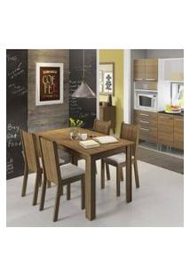Conjunto Sala De Jantar Rosie Madesa Mesa Tampo De Madeira Com 4 Cadeiras Rustic/Crema/Pérola