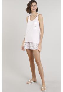 Pijama Feminino Com Estampa De Ratinho Com Bolso Rosa Claro