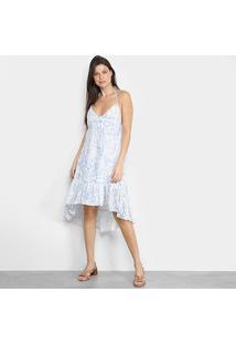 Vestido Ms Fashion Babado - Feminino-Azul