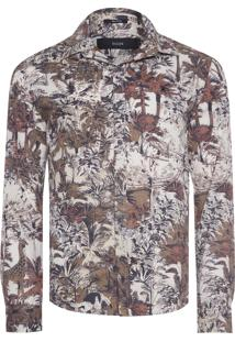 Camisa Masculina Voil Jungle Fever Slim - Marrom