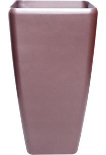 Vaso Trapézio Metalizado- Cobre- 41X22X22Cm- Comcompanhia Das Folhas