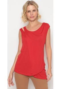 Blusa Com Recorte Vazado- Vermelha- Forumforum