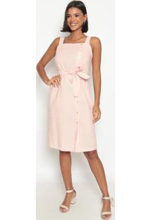 Vestido Listrado Com Botões- Rosa Claro & Brancovip Reserva