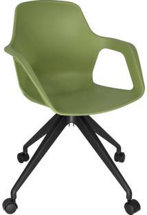 Cadeira De Cozinha Giratória Beau Com Braço Verde E Preta