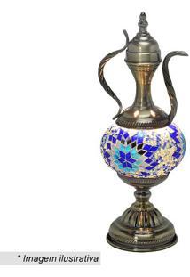 Abajur- Ouro Velho & Azul- 37X16X14Cm- Bivolt