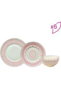 Aparelho De Jantar Tie Mood- Branco & Rosa Claro- 18Full Fit